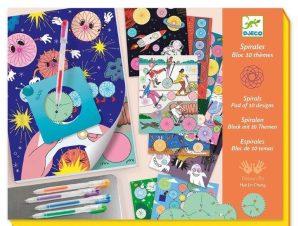 Djeco Σχεδιάζω και χρωματίζω με σπιράλ Μπλοκ 10 θέματα – 30 σελίδες