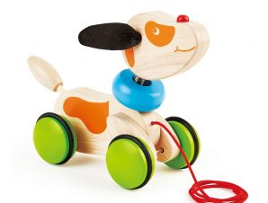 Pin Toys Ξύλινη τρεχαλίτσα Σκυλάκι, από μασίφ καουτσουκόδεντρο