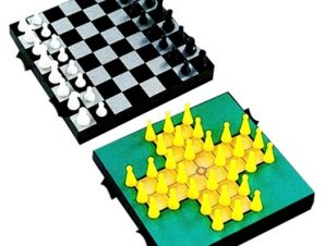 2 σε 1 μαγνητικό σκάκι και solitaire ταξιδίου